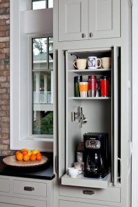 coffee nook hidden in cabinet